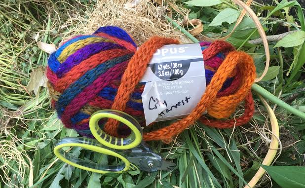 photo: skein of multicolored yarn with scissors