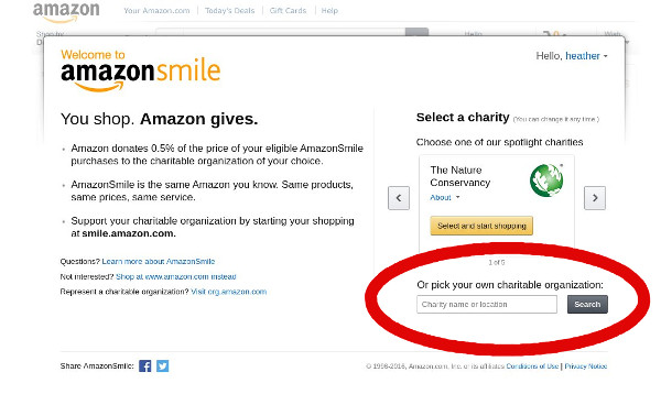 screenshot of charity-selection dialogue on Amazon Smile