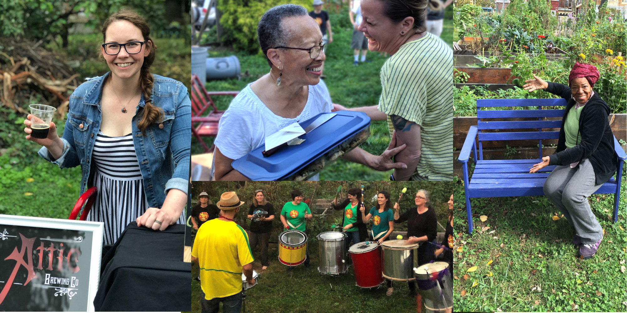 photos of beer taps, covered dishes, picnicers and drummers