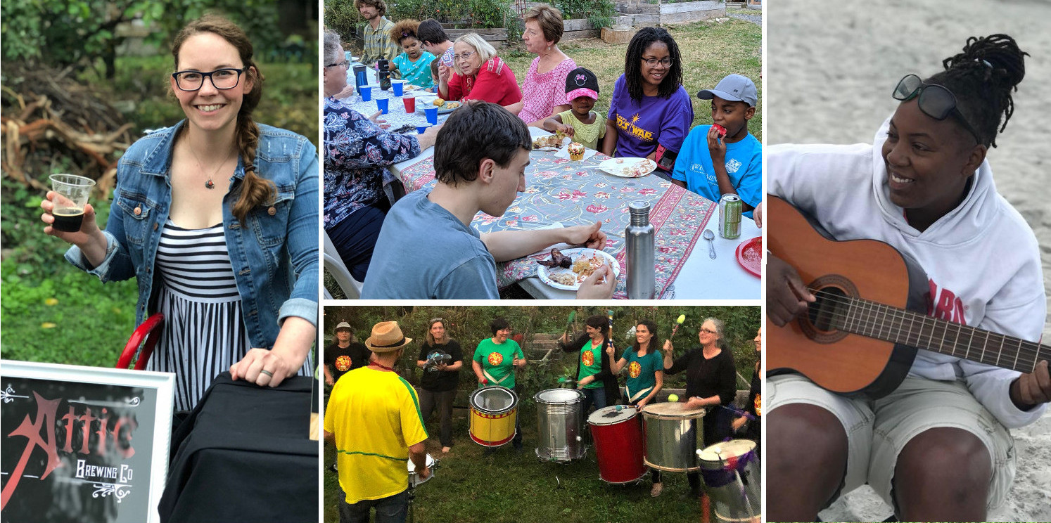 photo montage: smiling woman pouring beer, people at picnic table, Danie Ocean with guitar, drummers